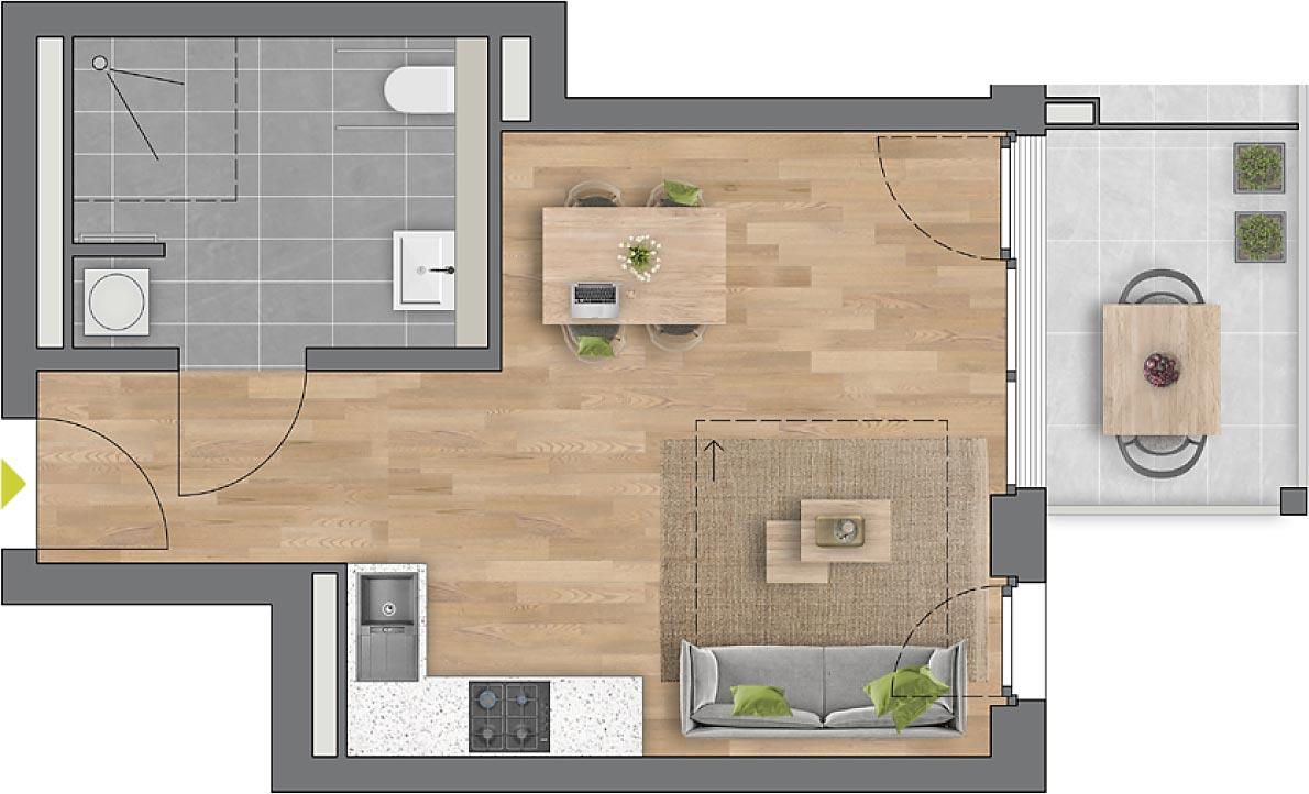 """Beispiel: 1-Zimmerwohnung Haus """"Arbor"""""""