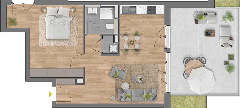 """Beispiel: 2-Zimmerwohnung Haus """"Arbor"""""""