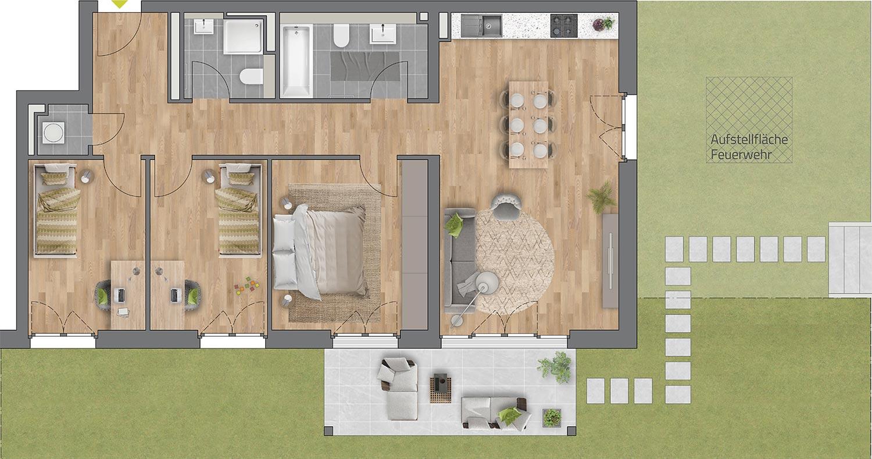 """Beispiel: 4-Zimmerwohnung Haus """"Arbor"""""""