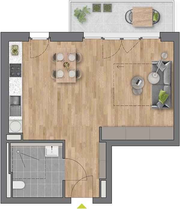 """Beispiel: 1-Zimmerwohnung Haus """"Flores"""""""