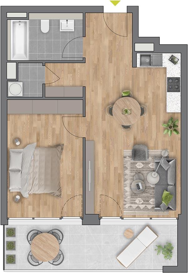 """Beispiel: 2-Zimmerwohnung Haus """"Flores"""""""