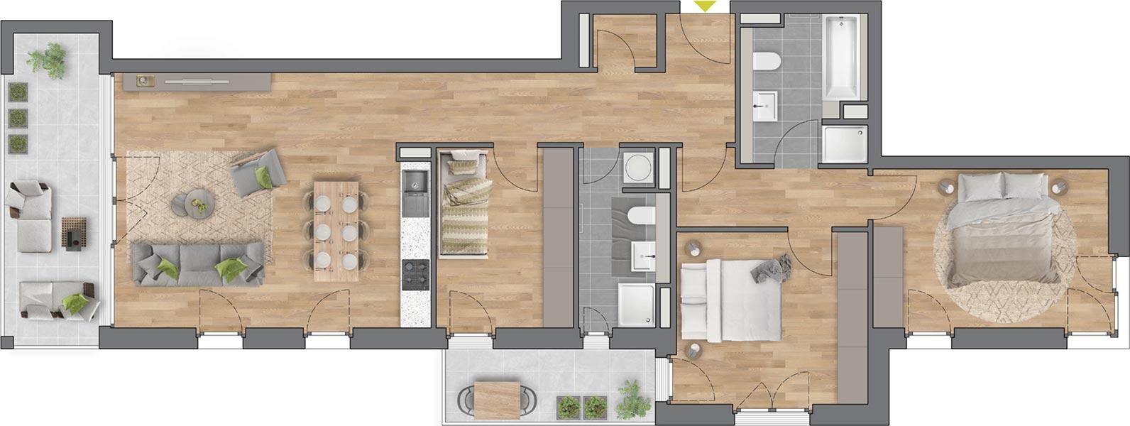 """Beispiel: 4-Zimmerwohnung Haus """"Flores"""""""