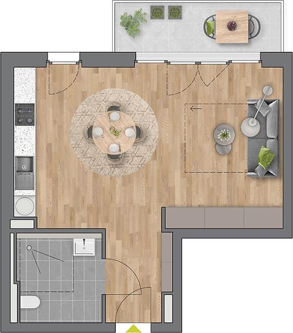 """Beispiel: 1-Zimmerwohnung Haus """"Planta"""""""