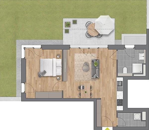 """Beispiel: 2-Zimmerwohnung Haus """"Planta"""""""