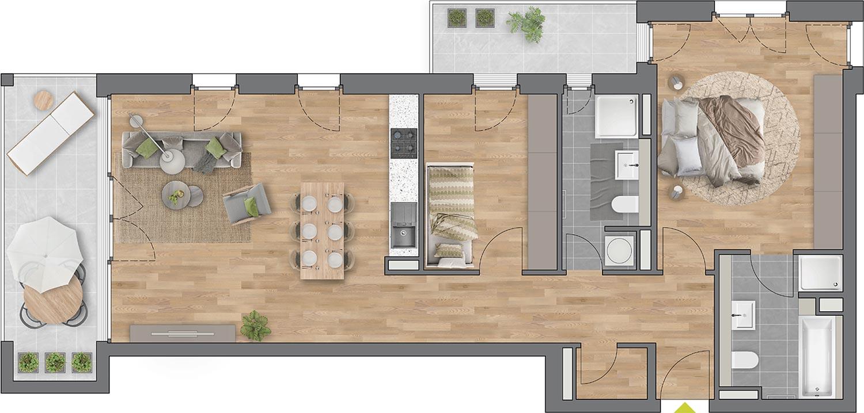 """Beispiel: 3-Zimmerwohnung Haus """"Planta"""""""