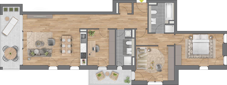 """Beispiel: 4-Zimmerwohnung Haus """"Planta"""""""