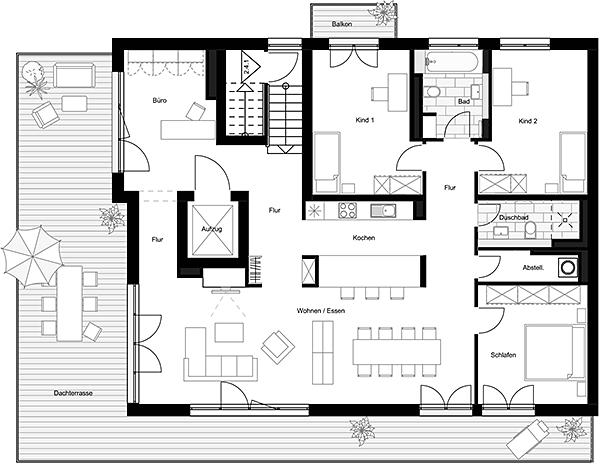 Beispiel: Penthouse (5 Zimmer)