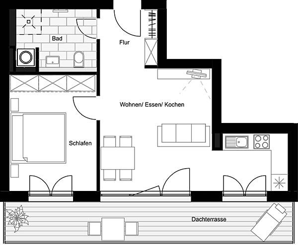 Beispiel: Penthouse (2 Zimmer)