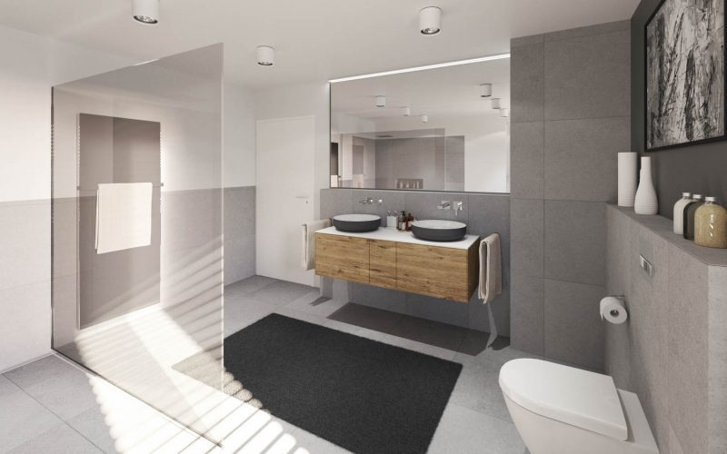 Grosszügige Walk-In-Dusche und dezent akzentuierte Holzdetails
